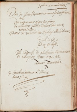 "Poem by Johannes Torrentius in the Album Amicorum of Petrus Scriverius, 23 March 1629, ending ""God be praised"", Koninklijke Bibliotheek, Den Haag"